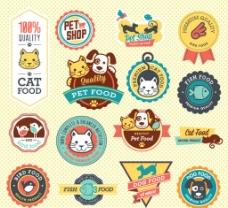 可爱宠物食品标签图片
