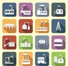 16个精致工厂工业剪影图标素材图片