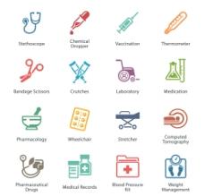 16个精致医院医疗图标矢量素材图片