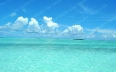 蓝天白云 海水图片