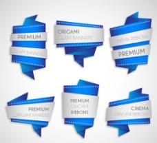 6款蓝色折纸banner矢量图图片