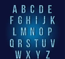 蓝色冰晶 字母图片