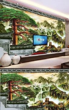 中國風山水畫背景墻
