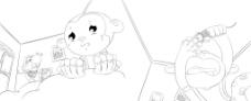 手绘小猴子做恶梦图片