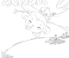 手绘淘气小猴子图片