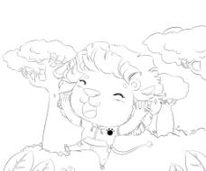 手绘长发小狮子图片