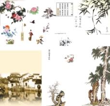 花鸟古树分层文件图片