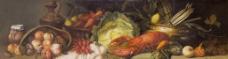 油画静物水果大龙虾图片