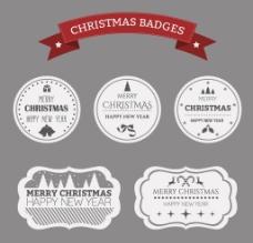 精致白色圣诞节标签矢量素材图片