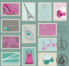 时尚邮票贴纸图片