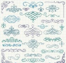 34款手绘花纹设计矢量图图片