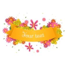 精美花卉装饰丝带矢量图图片