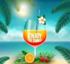 夏日美味鸡尾酒矢量素材图片