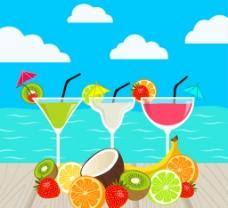 新鲜水果和 鸡尾酒图片
