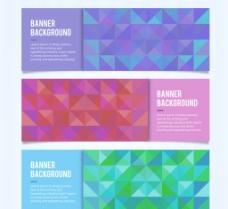 彩色拼接方形banner矢量素图片