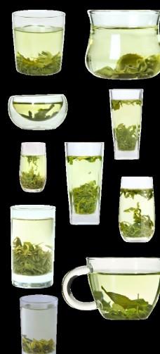 10种玻璃杯装日照绿茶茶汤素材图片