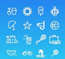 16款白色夏日图标图片