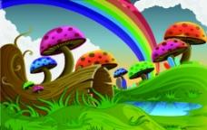 矢量彩虹蘑菇卡通背景图片