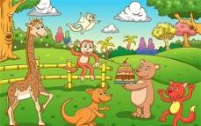可爱的 卡通动物园图片