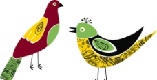 鸽子小鸟卡通矢量素材图片