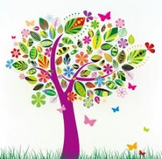 矢量创意树七彩花叶图片