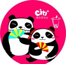 熊猫吸吉茶饮logo图片
