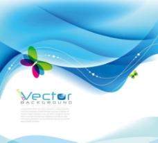 蓝色动感线条蝴蝶商务科技背景图片