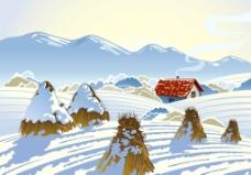 雪山雪地小屋图片