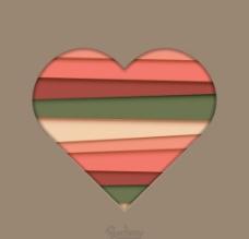 彩色条纹纸质感心形矢量素材图片