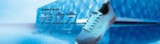 美克蓝色背景鞋子海报图片