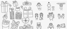 手绘礼盒儿童铅笔画图片