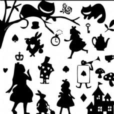 愛麗絲夢遊仙境剪影矢量图片