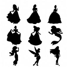 童話故事迪士尼公主剪影矢量图片