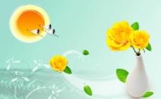 花瓶黄花图片
