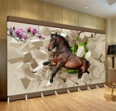 马 大型壁画图片