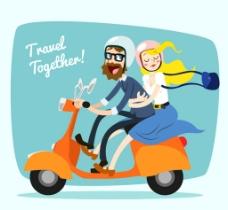 骑电动的情侣图片