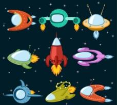 卡通宇宙飞船图片