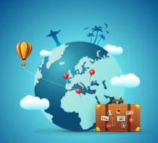环球旅游 插画图片