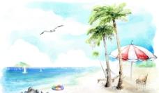 插画沙滩图片