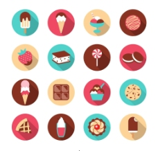 16款精致甜品矢量图标素材图片