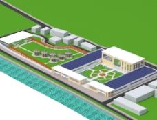 现代工厂办公楼庭院建筑模型图片