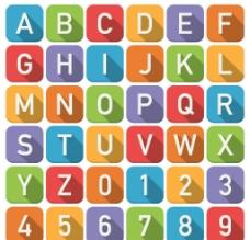 扁平化方形字母与数字矢量素材图片