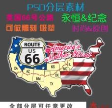 美国66号公路 psd分层素材图片