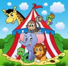 卡通动物帐篷森林图片