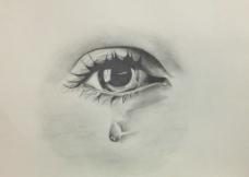 素描手绘泪眼图片