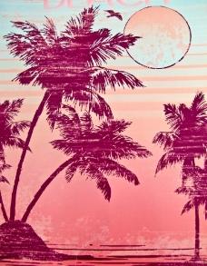 夕阳海滩画图片