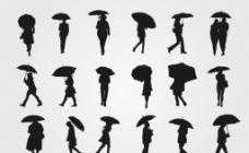 18款撑伞人物剪影图片