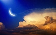 夜幕下的弯月美景图片