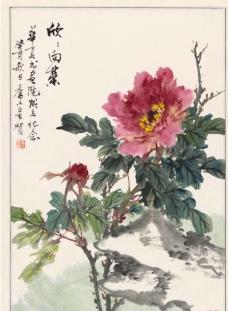 乔木-牡丹花图轴图片