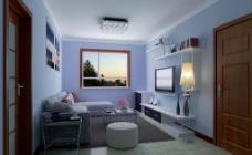 蓝色客厅图片